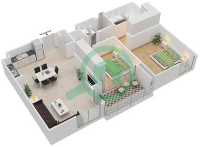 المخططات الطابقية لتصميم النموذج 2.4 BLOCK شقة 2 غرفة نوم - بارك بوينت