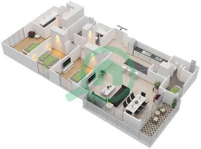 المخططات الطابقية لتصميم الوحدة 3.0.C BLOCK-B شقة 3 غرف نوم - بارك بوينت