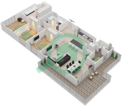 المخططات الطابقية لتصميم الوحدة 3.0.D BLOCK-B شقة 3 غرف نوم - بارك بوينت