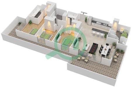 المخططات الطابقية لتصميم الوحدة 3.0.F BLOCK-B شقة 3 غرف نوم - بارك بوينت