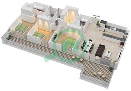 المخططات الطابقية لتصميم الوحدة 3.2.A BLOCK-B شقة 3 غرف نوم - بارك بوينت