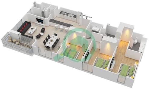 المخططات الطابقية لتصميم الوحدة 3.2.B BLOCK-B شقة 3 غرف نوم - بارك بوينت