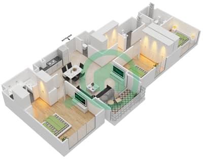 المخططات الطابقية لتصميم الوحدة 3.6 BLOCK-B شقة 3 غرف نوم - بارك بوينت