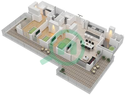 المخططات الطابقية لتصميم الوحدة 3.8 BLOCK-B شقة 3 غرف نوم - بارك بوينت