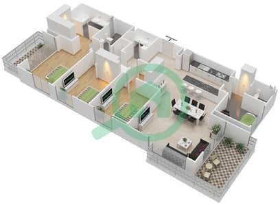 المخططات الطابقية لتصميم الوحدة 3.8.A BLOCK-B شقة 3 غرف نوم - بارك بوينت