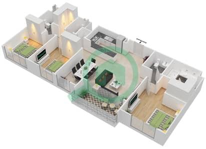 المخططات الطابقية لتصميم الوحدة 3.9 BLOCK-B شقة 3 غرف نوم - بارك بوينت