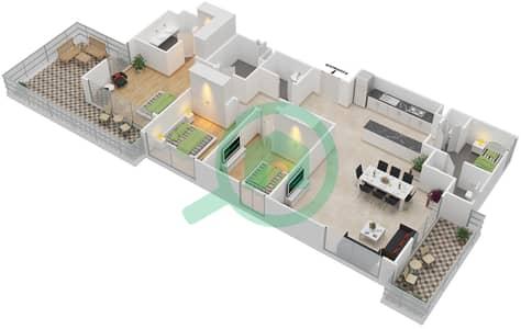 المخططات الطابقية لتصميم الوحدة 3.10 BLOCK-B شقة 3 غرف نوم - بارك بوينت