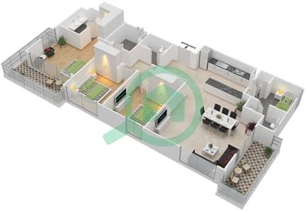 المخططات الطابقية لتصميم الوحدة 3.10.A BLOCK-B شقة 3 غرف نوم - بارك بوينت