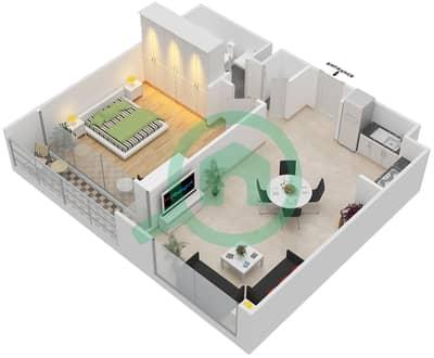 المخططات الطابقية لتصميم الوحدة 1.0 BLOCK-A شقة 1 غرفة نوم - بارك بوينت