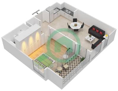 المخططات الطابقية لتصميم الوحدة 1.0.C BLOCK-A شقة 1 غرفة نوم - بارك بوينت