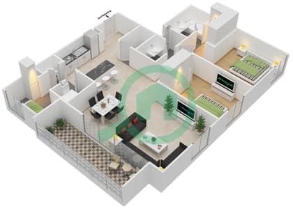 المخططات الطابقية لتصميم الوحدة 2.1 BLOCK-A شقة 2 غرفة نوم - بارك بوينت