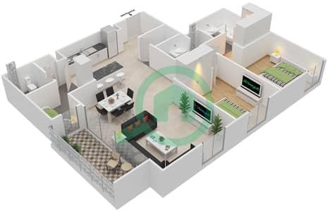 المخططات الطابقية لتصميم الوحدة 2.1.A BLOCK-A شقة 2 غرفة نوم - بارك بوينت