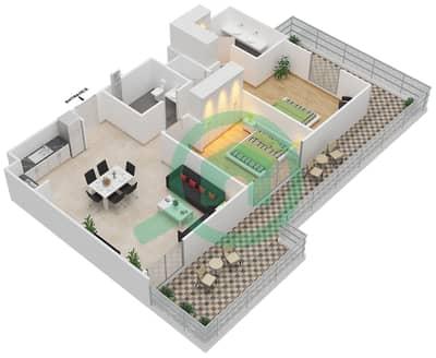 المخططات الطابقية لتصميم الوحدة 2.0 B BLOCK-A شقة 2 غرفة نوم - بارك بوينت