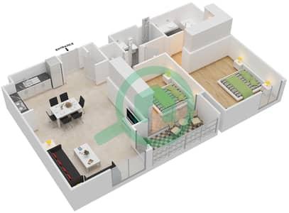 المخططات الطابقية لتصميم الوحدة 2.4 BLOCK-A شقة 2 غرفة نوم - بارك بوينت