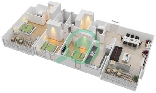 المخططات الطابقية لتصميم الوحدة 3.3 BLOCK-A شقة 3 غرف نوم - بارك بوينت