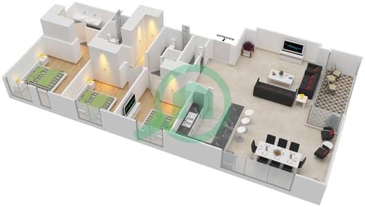 المخططات الطابقية لتصميم الوحدة 3.4 BLOCK-A شقة 3 غرف نوم - بارك بوينت
