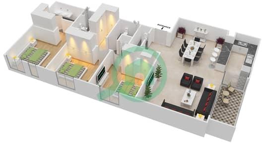 المخططات الطابقية لتصميم الوحدة 3.4.A BLOCK-A شقة 3 غرف نوم - بارك بوينت