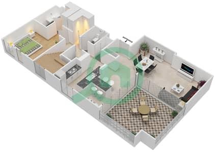 المخططات الطابقية لتصميم الوحدة 803 A شقة 3 غرف نوم - بارك بوينت