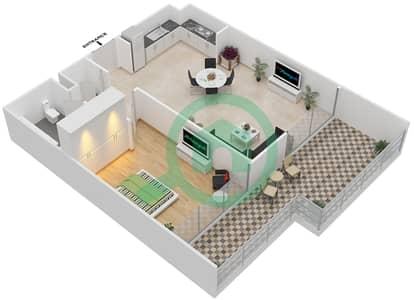 المخططات الطابقية لتصميم الوحدة 1.0.A BLOCK-C,D شقة 1 غرفة نوم - بارك بوينت