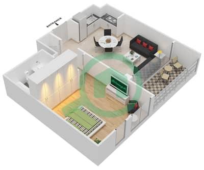 المخططات الطابقية لتصميم الوحدة 1.0.B BLOCK-A شقة 1 غرفة نوم - بارك بوينت