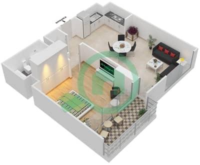 المخططات الطابقية لتصميم الوحدة 1.0 BLOCK-C شقة 1 غرفة نوم - بارك بوينت