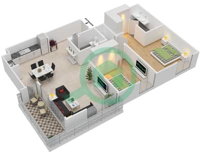 المخططات الطابقية لتصميم الوحدة 2.3 BLOCK-C شقة 2 غرفة نوم - بارك بوينت