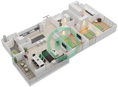 المخططات الطابقية لتصميم الوحدة 3.0.C BLOCK-C شقة 3 غرف نوم - بارك بوينت