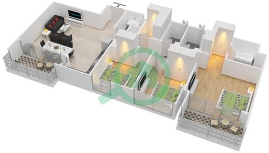 المخططات الطابقية لتصميم الوحدة 3.3.A BLOCK-C شقة 3 غرف نوم - بارك بوينت
