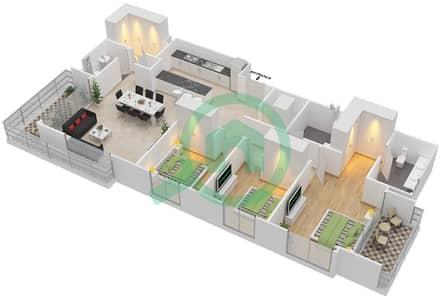 المخططات الطابقية لتصميم الوحدة 3.5.A BLOCK-C شقة 3 غرف نوم - بارك بوينت