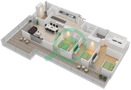 المخططات الطابقية لتصميم الوحدة 3.5.B BLOCK-C شقة 3 غرف نوم - بارك بوينت