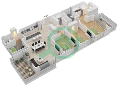 المخططات الطابقية لتصميم الوحدة 3.8.A BLOCK-C شقة 3 غرف نوم - بارك بوينت