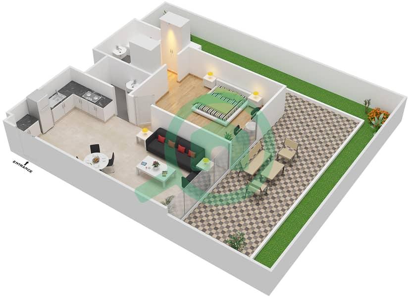 المخططات الطابقية لتصميم النموذج / الوحدة 2A/17 شقة 1 غرفة نوم - شايستا عزيزي Floor 1 image3D