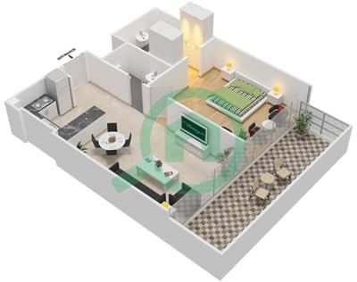 المخططات الطابقية لتصميم النموذج / الوحدة 3B /17 شقة 1 غرفة نوم - شايستا عزيزي