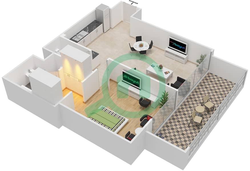 المخططات الطابقية لتصميم النموذج / الوحدة 2B/11 شقة 1 غرفة نوم - شايستا عزيزي Floor 2-5,10-11 image3D