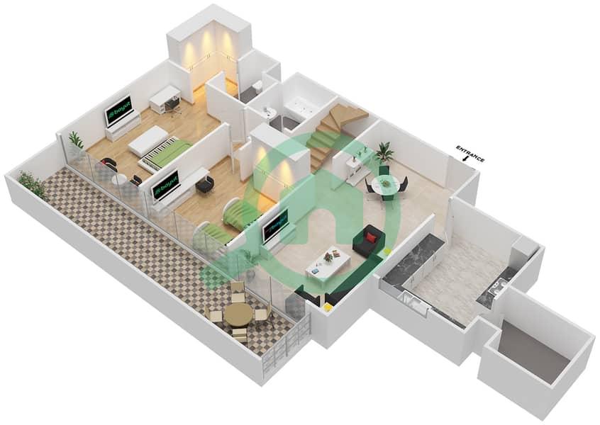 المخططات الطابقية لتصميم النموذج / الوحدة 7B/11 شقة 2 غرفة نوم - شايستا عزيزي Lower Floor-12 Floor image3D