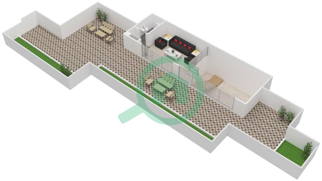 المخططات الطابقية لتصميم النموذج / الوحدة 7B/11 شقة 2 غرفة نوم - شايستا عزيزي Upper Floor-Roof Floor image3D