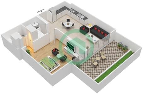 المخططات الطابقية لتصميم النموذج / الوحدة 4A /08 شقة 1 غرفة نوم - شايستا عزيزي