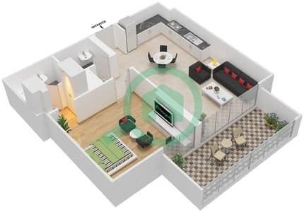 المخططات الطابقية لتصميم النموذج / الوحدة 4B/08 شقة 1 غرفة نوم - شايستا عزيزي