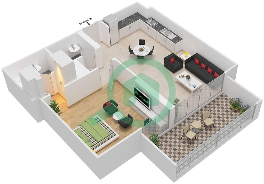 المخططات الطابقية لتصميم النموذج / الوحدة 4B/08 شقة 1 غرفة نوم - شايستا عزيزي Floor 2-12 image3D
