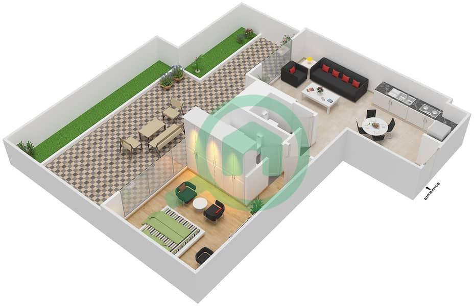 المخططات الطابقية لتصميم النموذج / الوحدة 5A/05 شقة 1 غرفة نوم - شايستا عزيزي Floor 1 image3D