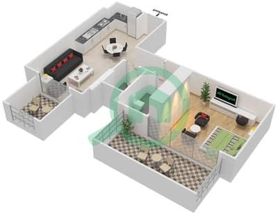 المخططات الطابقية لتصميم النموذج / الوحدة 5B/05 شقة 1 غرفة نوم - شايستا عزيزي