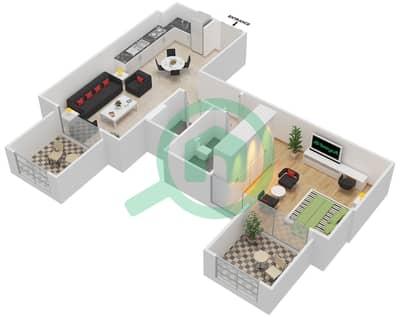المخططات الطابقية لتصميم النموذج / الوحدة 5B/ 05 شقة 1 غرفة نوم - شايستا عزيزي