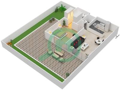 المخططات الطابقية لتصميم النموذج / الوحدة 1A/02 شقة 1 غرفة نوم - شايستا عزيزي