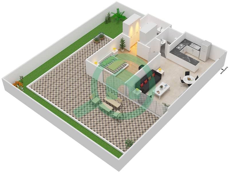 المخططات الطابقية لتصميم النموذج / الوحدة 1A/02 شقة 1 غرفة نوم - شايستا عزيزي Floor 1 image3D