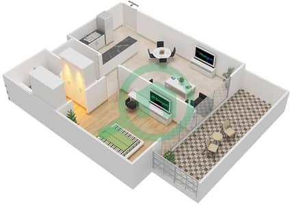 المخططات الطابقية لتصميم النموذج / الوحدة 1B / 02 شقة 1 غرفة نوم - شايستا عزيزي