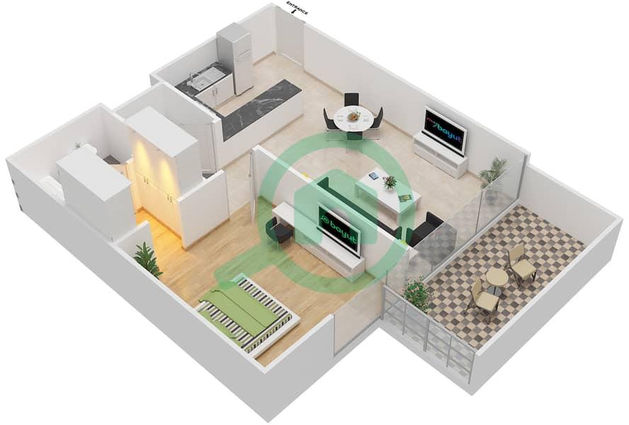 المخططات الطابقية لتصميم النموذج / الوحدة 1B/02 شقة 1 غرفة نوم - شايستا عزيزي Floor 6-9,12 image3D