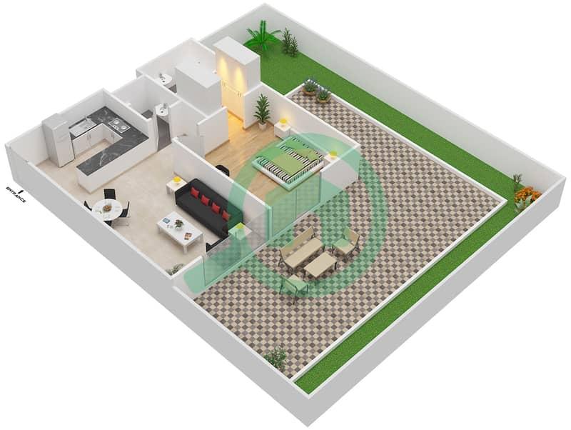 المخططات الطابقية لتصميم النموذج / الوحدة 1A /01 شقة 1 غرفة نوم - شايستا عزيزي Floor 1 image3D