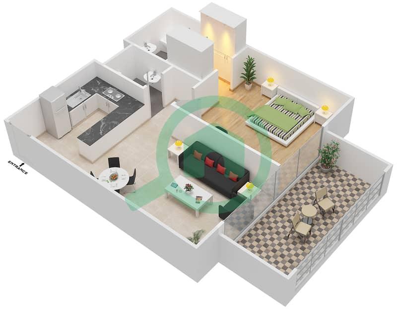 المخططات الطابقية لتصميم النموذج / الوحدة 1B/01 شقة 1 غرفة نوم - شايستا عزيزي Floor 2-12 image3D