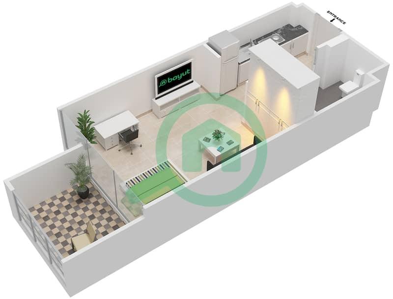المخططات الطابقية لتصميم النموذج / الوحدة 1B/04 شقة  - شايستا عزيزي Floor 2-12 image3D