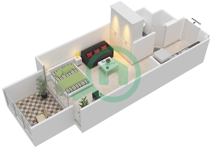 المخططات الطابقية لتصميم النموذج / الوحدة 1B/03 شقة  - شايستا عزيزي Floor 2-12 image3D